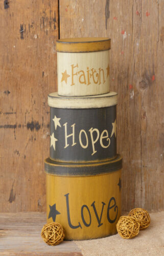 New Primitive FAITH HOPE LOVE STAR Black Mustard Cream Nesting Stacking Boxes