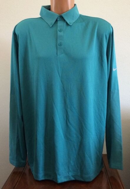 745da8447c2cd Nike Golf Mens Size Large Teal Green Long Sleeve Dri-fit Polo Shirt 619828  300
