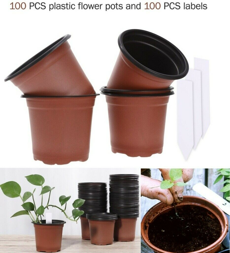 NEW Plastic Plant Flower Pots Nursery Seedlings Pot Plant 100Pcs