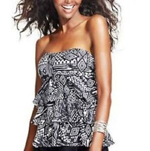 NEW-Island-Escape-Black-Tiered-Ruffled-Tankini-Bandini-Swim-Top-ONLY-6-NO-STRAP