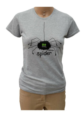 WOMENS /'SPIDER/' fitted t.shirt in  grey Sz 6-20.