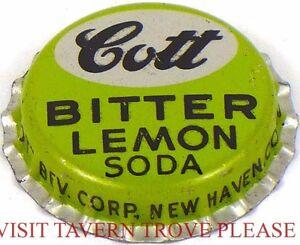 Unused 1950s Cott Lemon Twist Soda Cork Crown