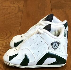 "half off a8f9a 7d99b Details about 2005 Air Jordan 14 Retro ""White/ Black/ Deep Forest Green"" sz  1c Soft Bottom"