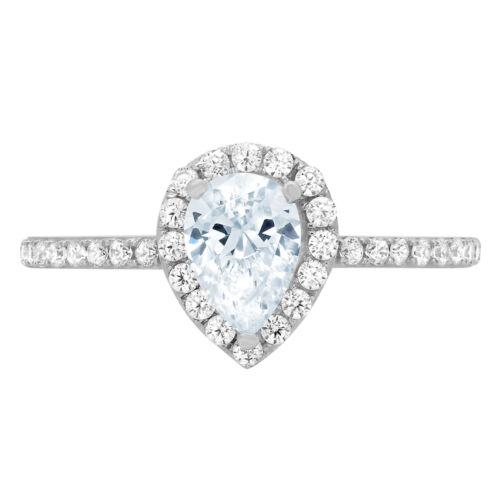 1.22ct Pear Sky Blue Topaz Promise Bridal Wedding Designer Ring 14k White Gold
