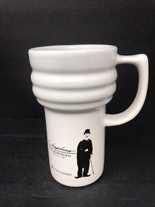 Nice-Charlie-Chaplin-16OZ-Coffe-Mug-Travel-Volkswagen-White-With-Lid-Good-Shape