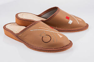 Women`s/Ladies Leather Slippers 100% Natural Leather size:UK 345678