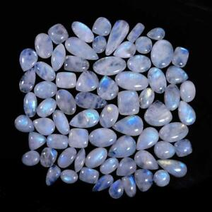 Natural Blue Fire Rainbow Moonstone Cabochon Loose Rainbow Moonstone Lot Wholesale Mix Lot Rainbow Moonstone Cabochon Mix Shape /& Size