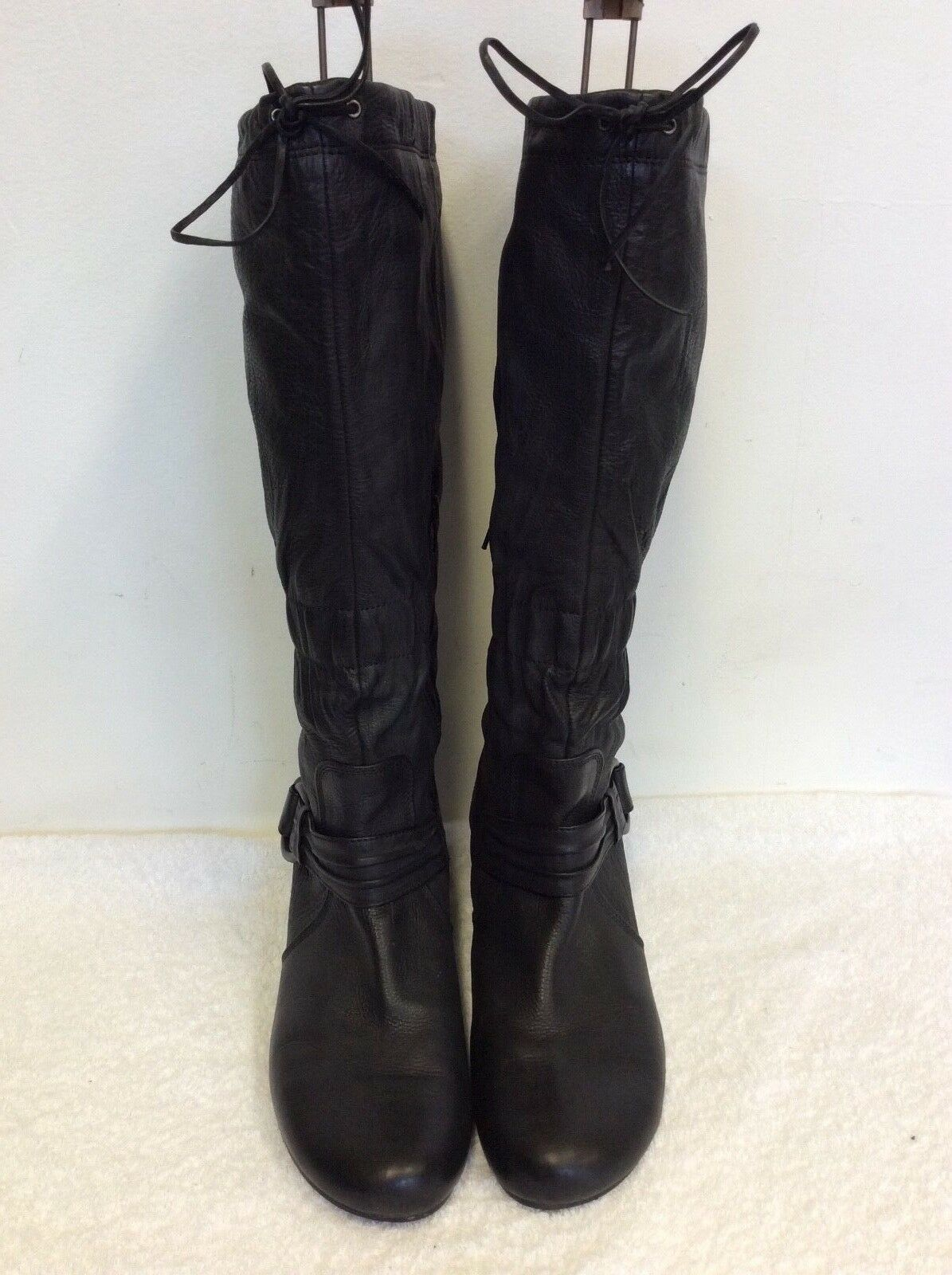 HOGL BLACK LEATHER KNEE HIGH HEELED BUCKLE TRIM DRAWSTRING TIE BOOTS SIZE 8/42