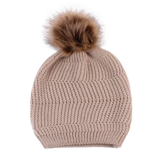 Momy And Baby Winter Warm Hat Kids Knitted Wool Hemming Fluffy Ball Thermal L