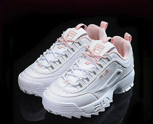 FILA-DISRUPTOR-II-2-Women-Pink-Flamingo-Heritage-Authentic-Shoes-Free-Ship