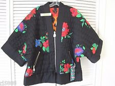 KENZO H&M REVERSIBLE SILK KIMONO JACKET COAT $299 XS FLORAL ROSE / JUNGLE ANIMAL