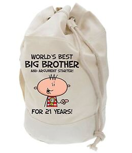 Image Is Loading Worlds Best Big Brother 21st Birthday Present Duffle