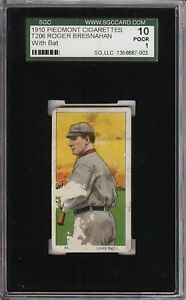 1909-11 T206 HOF Roger Bresnahan Batting Piedmont 350 St Louis SGC 10 / 1