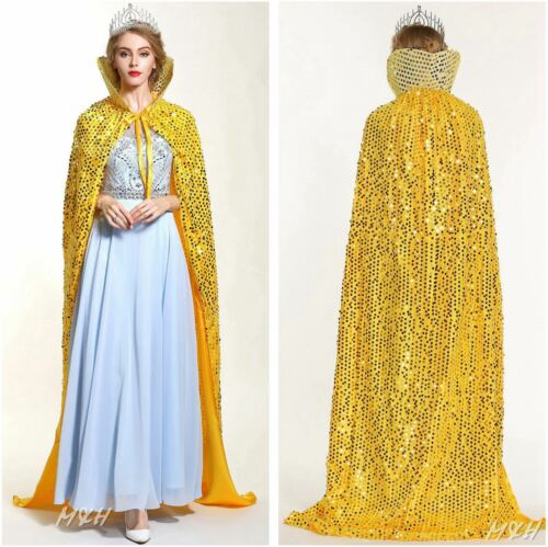 "GOLDEN 71/"" Scales Sequin Satin Cloak Cape Beauty Pageant Party Costume Cosplay"
