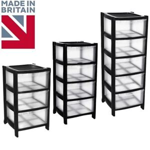 Black Drawer Plastic Tower Storage Drawers Chest Unit With