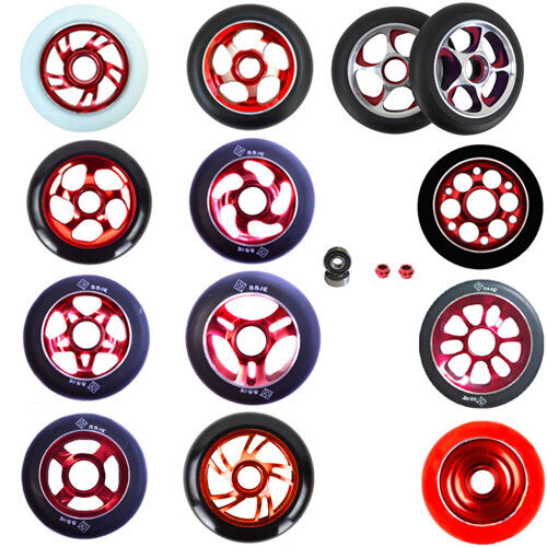 2X PRO STUNT SCOOTER RED METAL CORE WHEELS 100mm 110mm 88A ABEC 11 BEARINGS 9