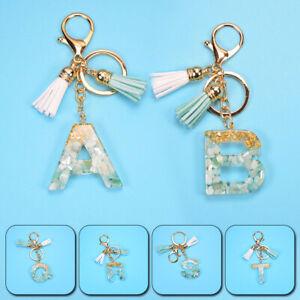 A-Z Alphabet Letter Tassel Acrylic Keychains Bag Charm Keyrings Pendants Gifts