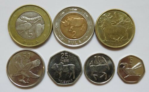 circulated 5 50 Thebe and 1 10 5 Pula Botswana Animal Coins 7pcs 25 2