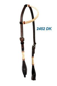 Western-Dark-Oil-Rawhide-Braided-One-Ear-Headstall