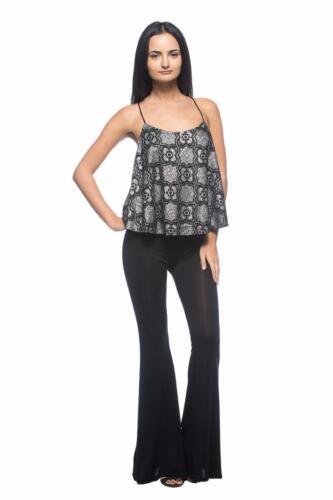 Black Stretch Knit Jersey Hippie Boho Flow Flare Bell Bottoms 134 mv Pants S M L