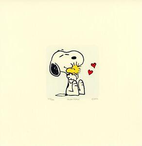Snoopy-Woodstock-Peanuts-Sowa-amp-Reiser-D-500-Hand-Painted-Etching-Art-Heart