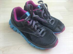291fed433d1d Reebok Youth Girls Gray Blue Pink Shoes Realflex Smoothflex Cushrun ...