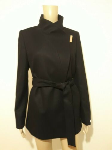 TED BAKER  LONDON KEYLA BLACK CASHMERE WRAP COAT UK 8 TED 1 US 4 RRP £269 BNWT