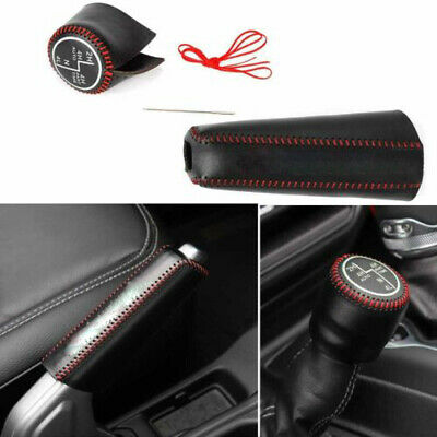 For 2018 Jeep Wrangler JL Gear Shift Head Leather Case Cover Black Line 1PCS
