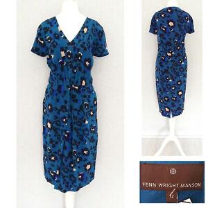 Fenn-Wright-Manson-Dress-12-Blue-100-SILK-Midi-Short-Sleeve-Formal-NEW-169-NWT
