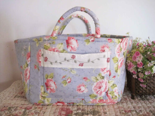 Shabby Rose Blue Pocket Patch Cotton Quilted Storage Basket