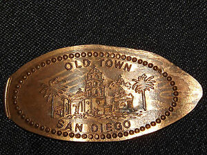 VINTAGE-ELONGATED-SOUVENIR-COPPER-PENNY-OLD-TOWN-SAN-DIEGO