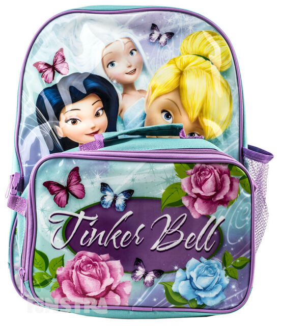 ce0eb85a5fc Disney Fairies Backpack Kids Disney School Book Bag Lunch Luggage Tinker  Bell