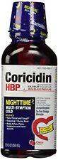 2 Pack - Coricidin HBP Nighttime Multi-Symptom Cold Liquid Cherry 12oz Each