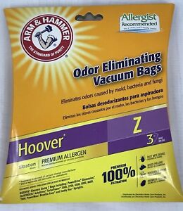 Hoover-Z-Odor-Vacuum-Bags-Arm-amp-Hammer-Premium-Allergen-3-Pack-NEW