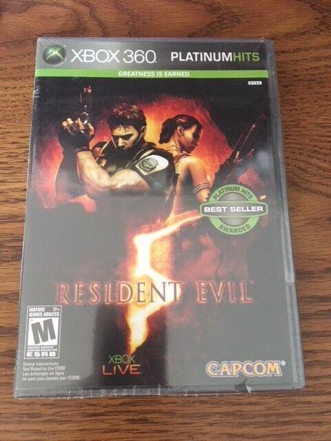 Shrink Wrap Sealed Resident Evil 5 Platinum Hits XBOX 360 NTSC U/C Free Shipping