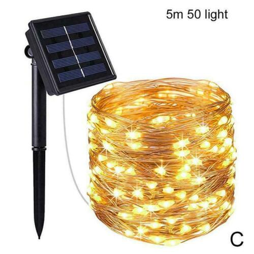 LED Solar String Lights Waterproof Copper Wire Fairy Xmas Outdoor Garden X6H0
