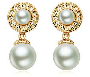 BELLISSIMO-Elegante-Oro-amp-Cream-White-Pearl-Goccia-Pendenti-Orecchini-Sposa-E663
