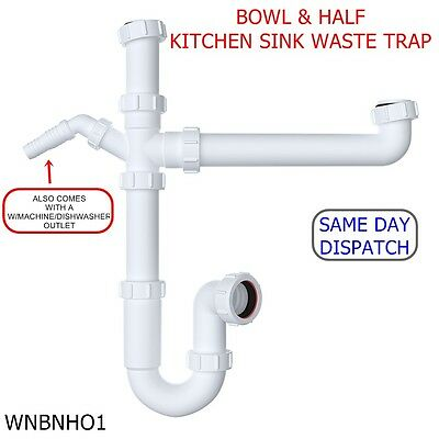 40mm Bowl Half Kitchen Sink Waste Trap Standard Kit Set With 76mm Water Seal Ebay