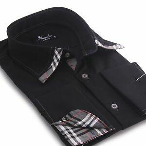 Amedeo-Exclusive-New-Men-039-s-Fashion-French-Cuff-Shirt-Black-Business-Dress-Shirts
