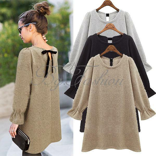 Womens Back Bow Loose Long Knitwear Sweater Jumper Knit Blouse Tops Mini Dress