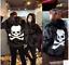 Womens Mens Skull Pattern Hoodie Casual Loose Plus Size Casual Jacket Coat black