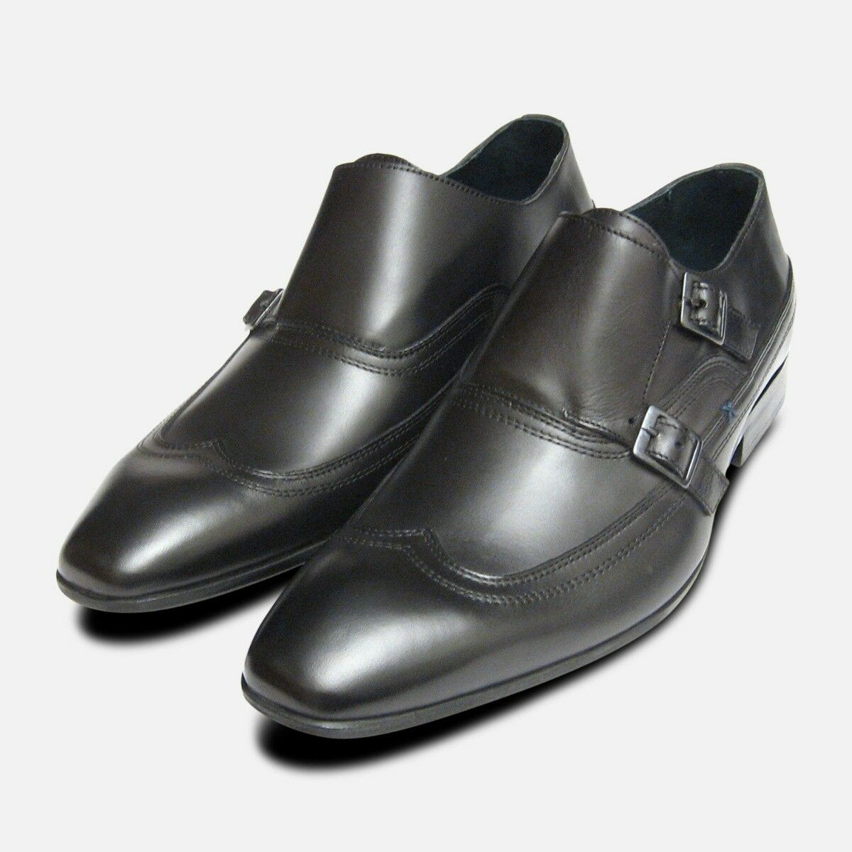 Designer Black Double Buckle Monk Shoes by Exceed