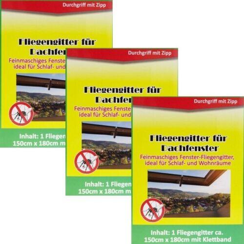 3x Fliegengitter Insektenschutz Mückengitter für Dachfenster Schwarz 150 x 180cm
