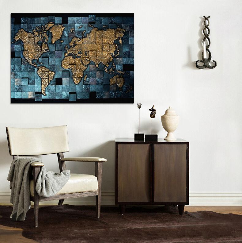 3D Bule Map 54 Wall Stickers Vinyl Murals Wall Print Decal AJSTORE UK Lemon