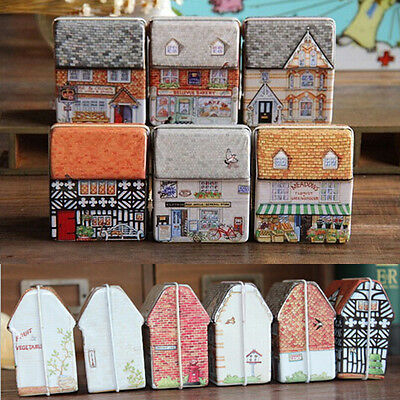 Children Dream House Tea Storage Tin Box Organizer for Jewelry Candy Container