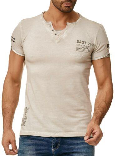 TAZZIO Herren T-Shirt Slim Fit Shirt Polo mit V-Ausschnitt Clubwear Used Look