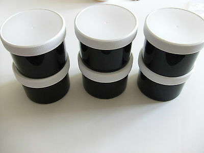 Lot of 6 Black 8oz Plastic Jars With White Ribbed Unlined Lids
