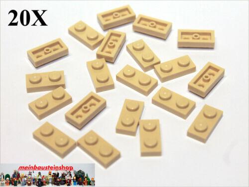 20X Lego® 3023 6225 Platten Plate 1X2 Beige Tan NEU