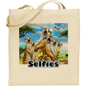 15f817190b9 Image is loading Meerkats-Howard-Robinson-Fun-Selfie-Reusable-Cotton- Shopping-