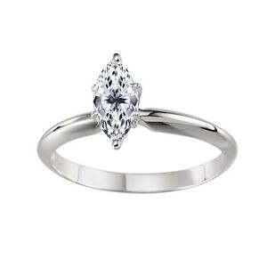 0.50 ct Marquise Cut Solitaire Engagement Wedding Ring in Real 14K White Gold